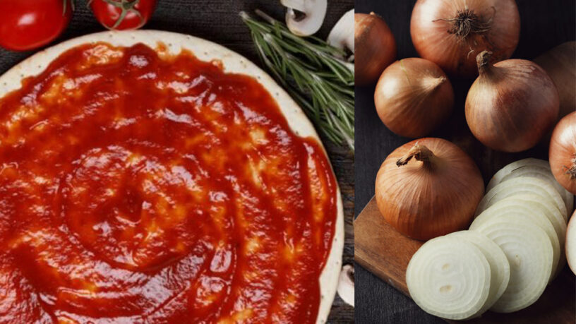 salsa de pizza con cebolla y tomate